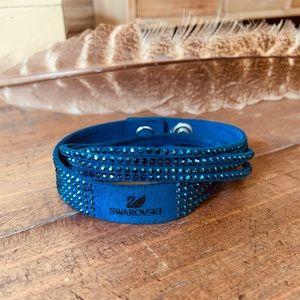Blue Swarovski Suede Bracelet